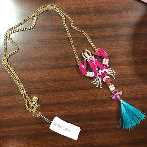 Betsey Johnson lobster pendant necklace